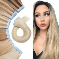 Tape In Real Human hair Extension Glue In Skin Weft Hair Extensions Rooted Tape in Remy Hair Seamless Invisible Double Sided Tape Human Hair Extensions For Women 16inch 60g 20pcs #60 Platinum Blonde