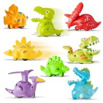 Prextex Wind Up Toys Mini Dinosaur Toys Wind-up Toys for Kids Party Favors - 8 Pack