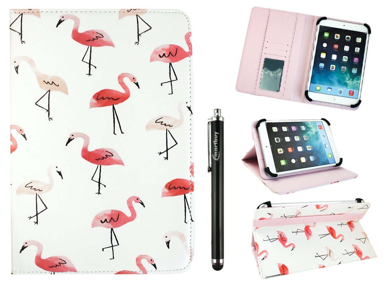 Emartbuy Universal 10-11 Inch Flamingo Multi Angle Folio Wallet Case Cover with Card Slots Pink Elastic Strap and Stylus Pen Compatible with Selected Devices Listed Below