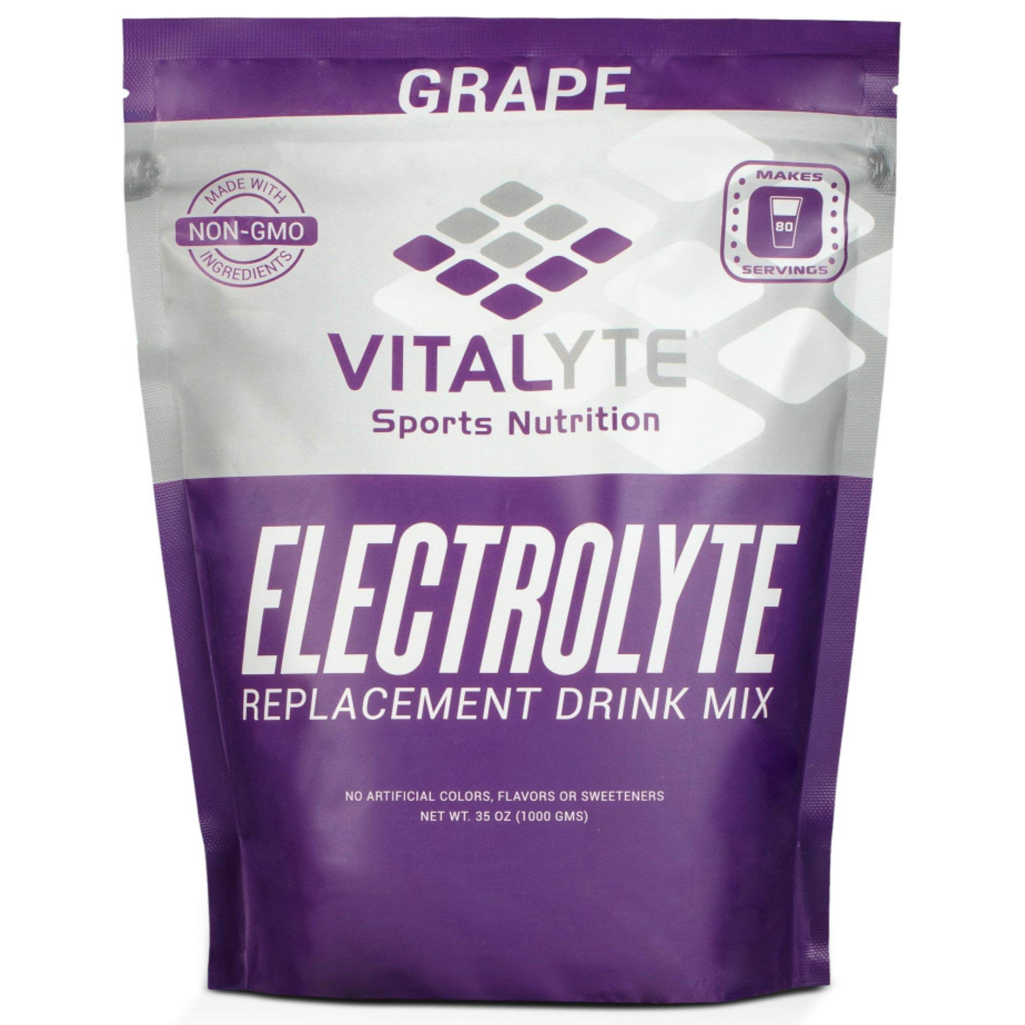 Vitalyte Natural Electrolyte Powder Drink Mix, Gluten Free, 40 2 Cup Servings Per Container (Grape-Pouch)