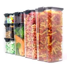 AmasSmile Airtight Food Storage Set- 7PCS 244OZ Kitchen Organization Containers for Pasta, BPA-Free Clear Plastic Canisters with Durable Lock Lids, Ideal for Cheerios, Flour and Sugar- Dry Bulk Cereal