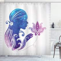 "Ambesonne Feminine Shower Curtain, Girl's Silhouette with Flowers on Her Hair Floral Ornaments Meditation Spa Art, Cloth Fabric Bathroom Decor Set with Hooks, 75"" Long, Purple Blue"