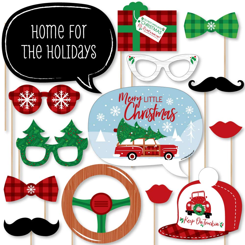 Big Dot of Happiness Merry Little Christmas Tree - Red Truck and Car Christmas Party Photo Booth Props Kit - 20 Count