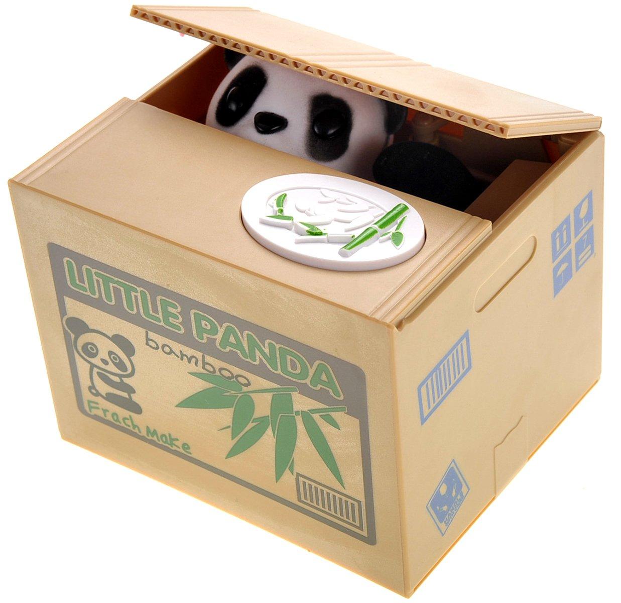 PowerTRC Cute Panda Box Coin Bank Piggy Bank   Toy Gifts   Hungry Panda   Stealing Coin Bank