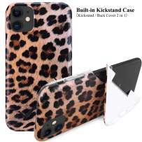 """iPhone 11 Kickstand Case, Stylish Cheetah iPhone Case for iPhone 11 6.1"""" Foldable Durable Flexible Soft Ultra-Thin Shockproof Slip Resistant TPU Case Cover for Girls Men, Leopard"""