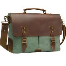 WOWBOX Messenger Bag for Men 15.6 inch Vintage Leather and Canvas Men's Satchel Shoulder Bag Business Briefcase Laptop Bag for Work School Green