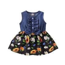 Toddler Baby Girls Summer Dress Ruffle Bowknot Button Denim Tops Sunflower Print Sleeveless Skirt Clothes