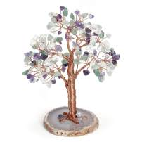 Top Plaza Reiki Healing Crystals Copper Money Tree Wrapped On Natural Agate Slices Geode Base Crystal Home Office Desk Tree Decor Feng Shui Luck Figurine Statue -Amethyst & Green Aventurine & Opal