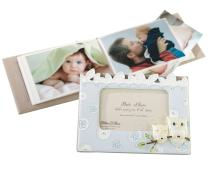 "Lillian Rose Photo Album with Photo Frame On Cover, Blue Owl, 4.75"" x 7"""