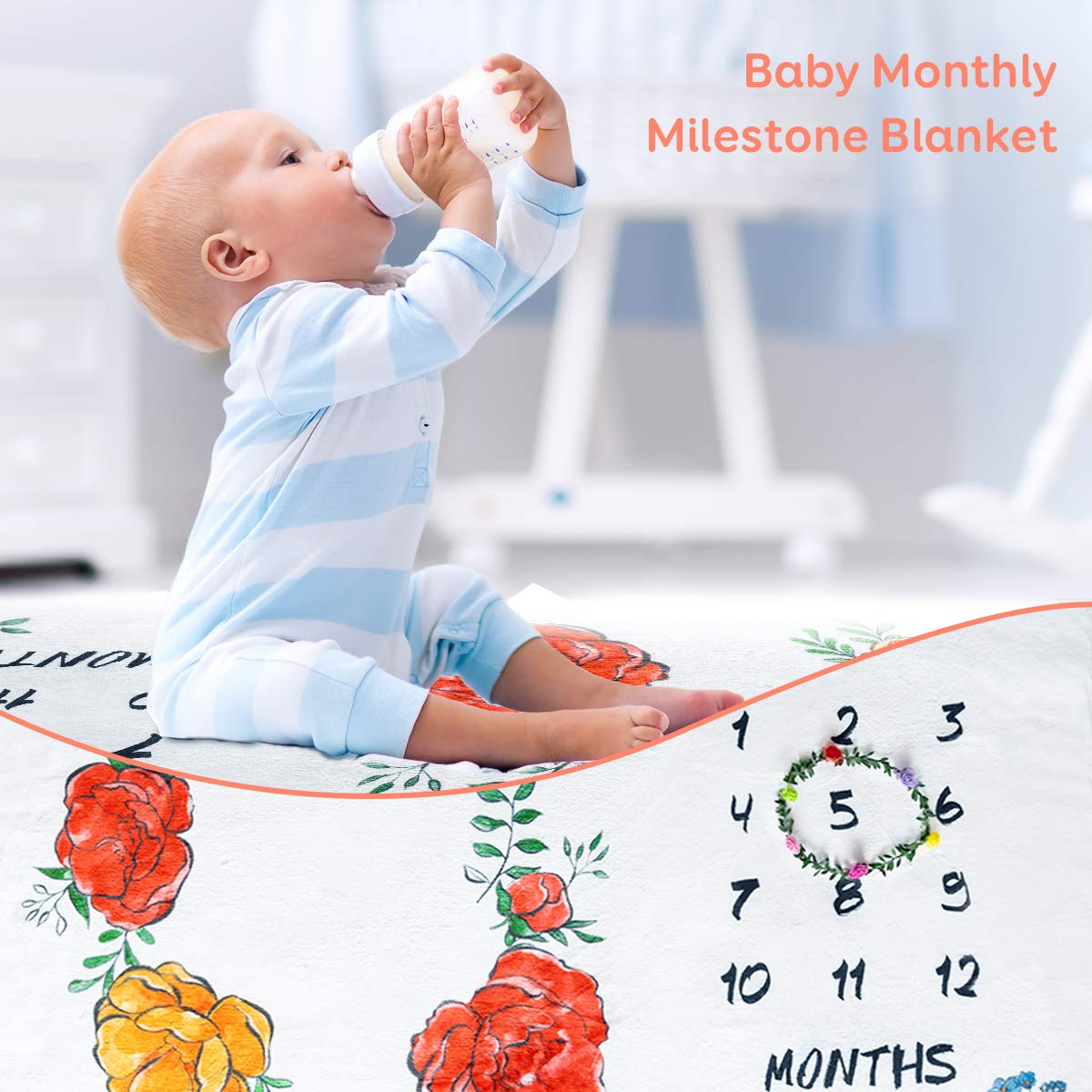 """Sivio Baby Monthly Milestone Blanket, Double-Side Printing Flower and Angel Wings Pattern, Ultra Soft Thick Flannel, Newborns Personalized Photography Backdrop Photo Prop, Floral Wreath, Large 60""""x40"""""""