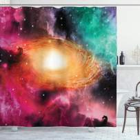 """Ambesonne Zodiac Shower Curtain, Colorful Astronomy Pictures of a Spiral Galaxy Stars Stardust and Cosmos, Cloth Fabric Bathroom Decor Set with Hooks, 84"""" Long Extra, Black Pink"""