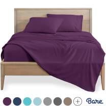 Bare Home Split King Sheet Set - 1800 Ultra-Soft Microfiber Bed Sheets - Double Brushed Breathable Bedding - Hypoallergenic – Wrinkle Resistant - Deep Pocket (Split King, Plum)