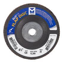 "Mercer Industries 338H120 SkillPro Zirconia Flap Disc, Type 29, 4-1/2"" x 5/8""-11 Grit 120, 10 Pack"