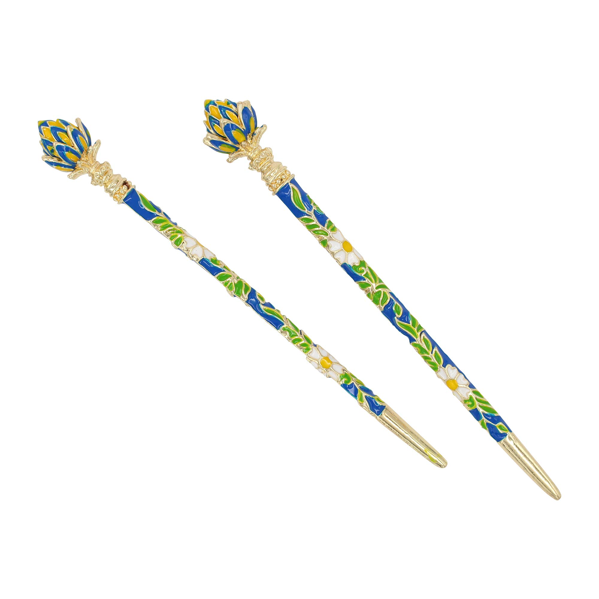 Real Sic Fashion & Lifestyle 2 Pic Hair Decor Chinese Traditional Style Hair Sticks Shawl Pins Picks Pics Forks for Women Girls Hair Updo Making Accessory with Lotus (Blue)