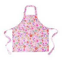 Sylfairy 1 Pack Flower Aprons for Kids Girls Pink Flower Apron with Pockets for Children Kichen Chef Aprons for Cooking Baking Painting and Party(Medium,6-8Years)