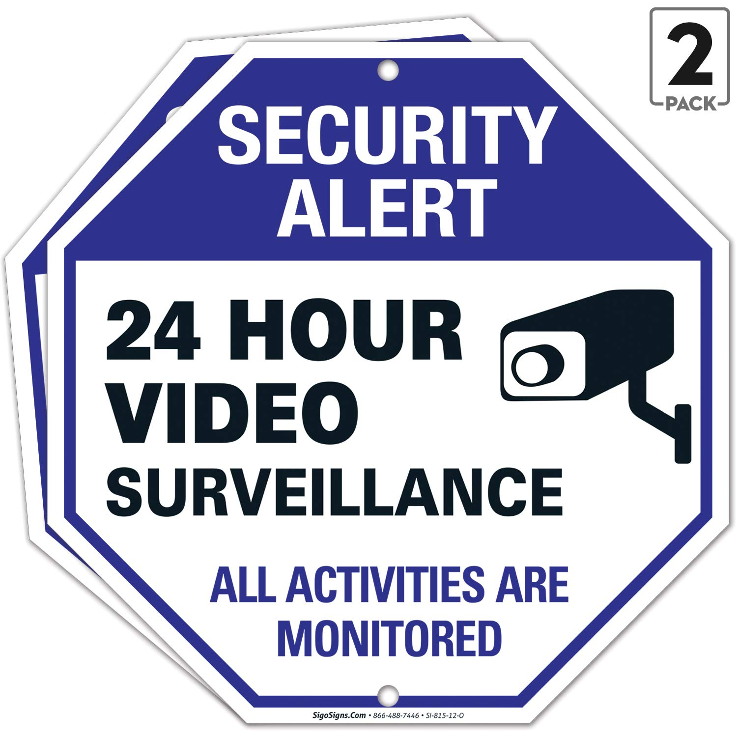 Video Surveillance Sign, (2 Pack) 12x12 Rust Free Aluminum, Weather Fade Resistant, Easy Mounting, Indoor Outdoor Use, Made in USA by SIGO SIGNS (2)