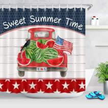 ECOTOB American Flag Independence Shower Curtain for Bathroom, Sweet Summer Time Watermelon on Rustic Red Truck Car Bathroom Accessories Fabric Bathroom Curtain with Shower Curtain Hooks, 72x79 inches