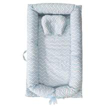 Abreeze Baby Bassinet for Bed -Blue Grey Striped Baby Lounger - Breathable & Hypoallergenic Co-Sleeping Baby Bed - 100% Cotton Portable Crib for for Bedroom/Travel