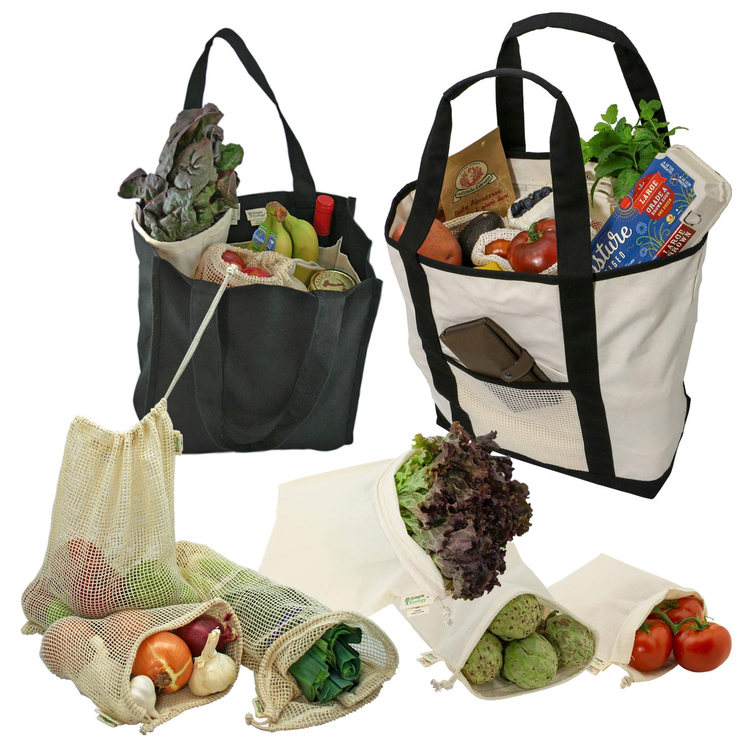 Simple Ecology Reusable Grocery Shopping 8 Bag Gift or Starter Set, Washable, Durable, Organic Cotton, Natural with Black