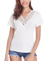 Abollria Women's V Neck Lace T-Shirt Short Sleeve Pleated Casual Tee Shirt Tops