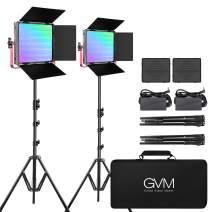 GVM RGB LED Video Light, 50W Video Lighting Kit with APP Control, 1200D Photography Lighting kit for YouTube Studio, 2 Packs Led Panel Light, 3200K-5600K, Aluminum Alloy Shell, CRI 97