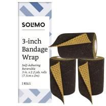 "Amazon Brand - Solimo Reversible Black/Gold Self-Adhering Bandage, 3"" x 5' Roll (3 Pack)"