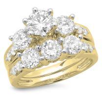 Dazzlingrock Collection 3.10 Carat (ctw) 14K Gold Round Diamond Ladies Bridal 3 Stone Engagement Ring with Band Set 3 1/10 CT