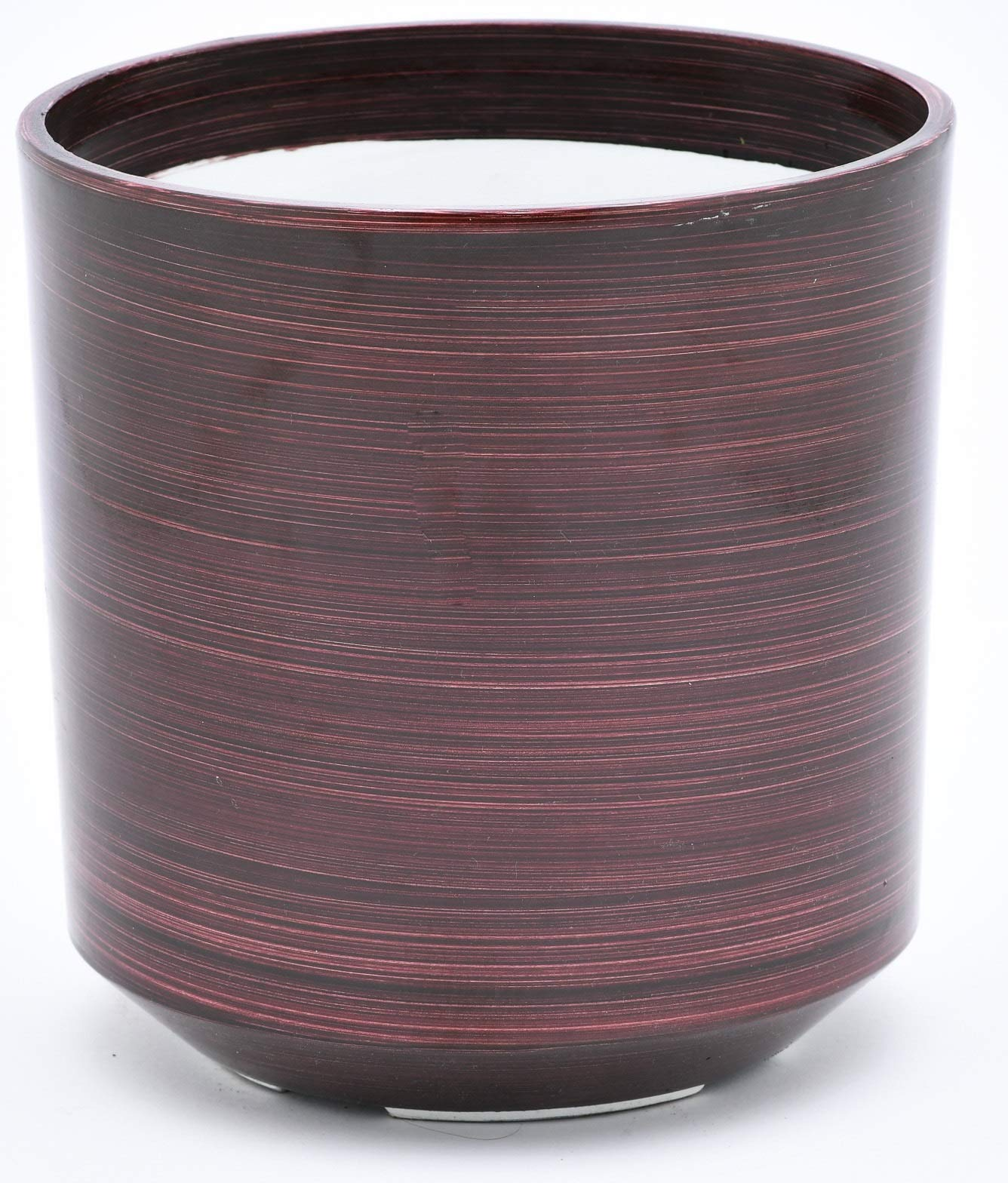 TABOR TOOLS Round Plastic Planter, Light Weight Material Painted in Trendy Colors, Features Optional Drainage Hole with Plug, Height 9 Inch ⌀ 8 Inch. VB108A. (Shiny Finish - Burgundy Red)