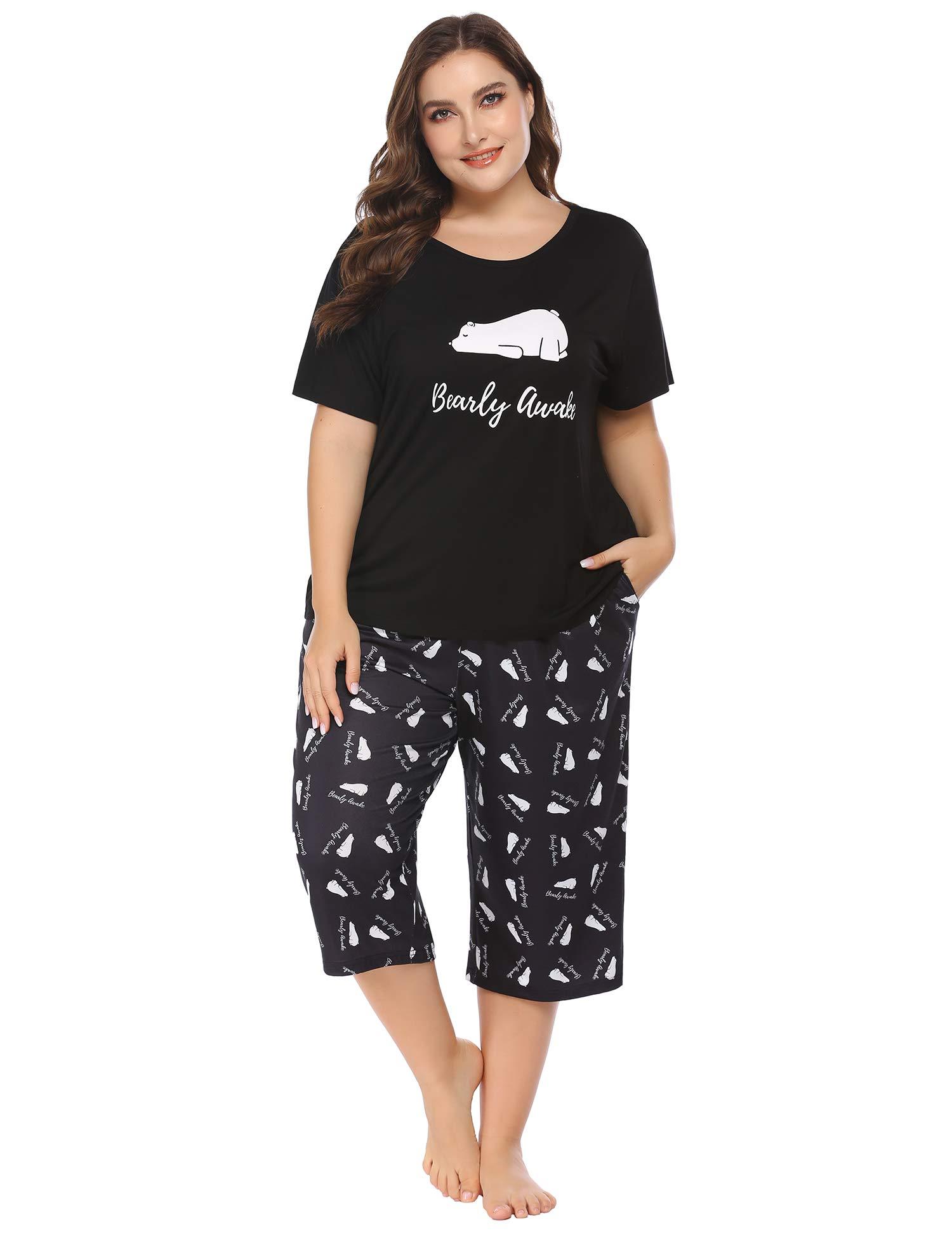 IN'VOLAND Women Plus Size Pajama Set Capri Short Sleeve Sleepwear Sets Print PJ Set with Pockets