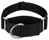 Country Brook Petz - 1 1/2 Inch Martingale Heavyduty Nylon Dog Collar (Medium, 1 1/2 Inch Wide, Black)