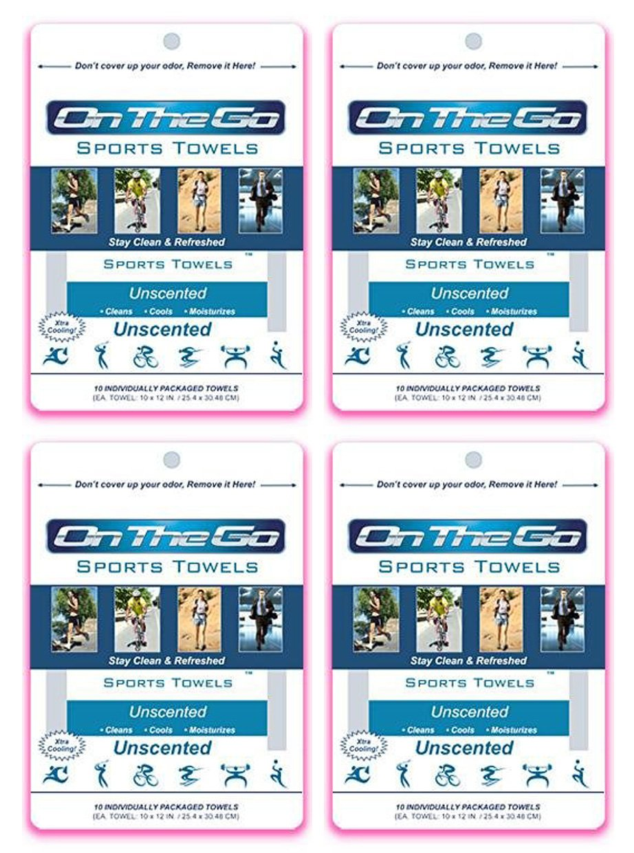 On The Go Towels Unscented Large Body Wipes (40)