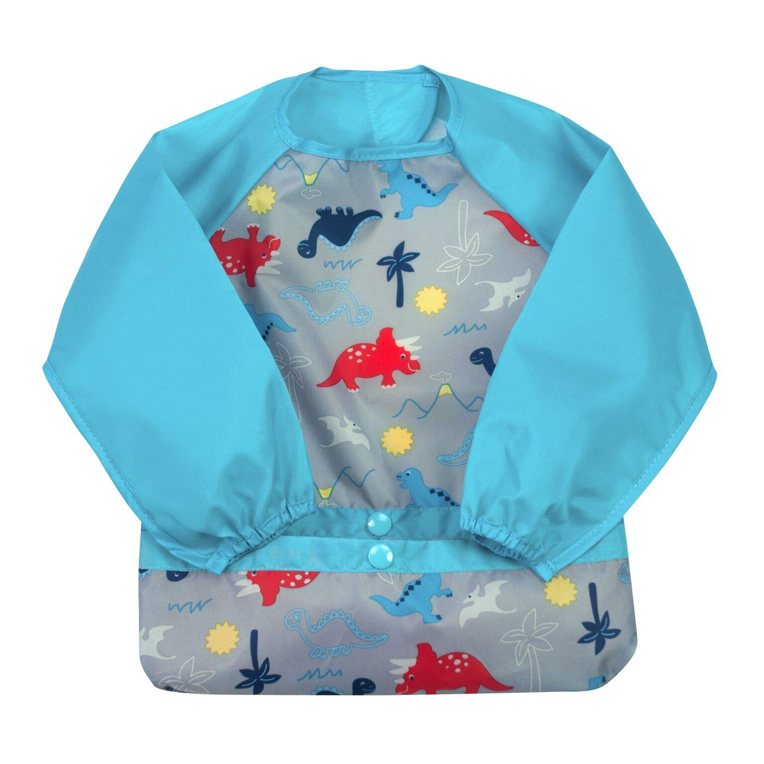 green sprouts Easy-wear Long Sleeve Bib   Waterproof Protection from Mealtime to Playtime   Flipped Pocket, Soft Material, Easy Clean Smock