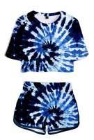 Fixmatti Women Tie Dye Short Set Crop Top and Short Pant Set Two Piece Outfit