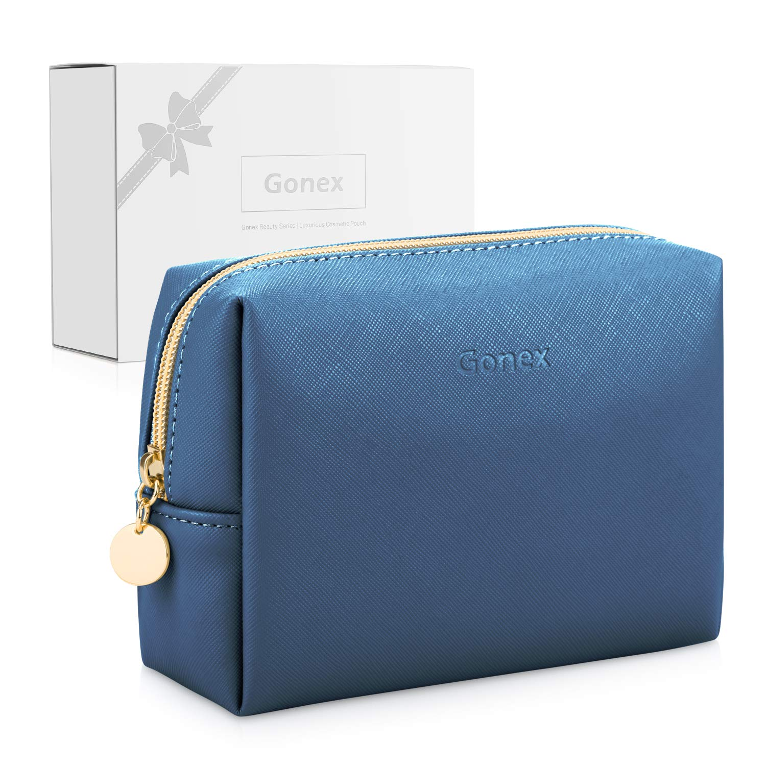 Gonex Small Makeup Bag for Purse PU Vegan Leather Travel Cosmetic Pouch Toiletry Bag for Women Girls Gifts Portable Water-Resistant Daily Storage Organzier Royal Blue