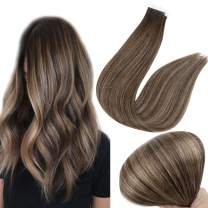 Full Shine Seamless Tape In Hair Extensions 30 Gram Glue On Human Hair Color 2/8/2 Balayage Hair Extensions 12Inch Tape In Brown Hair Extensions 20 Pcs Remy Hair Extensions