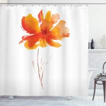 "Ambesonne Watercolor Flower Shower Curtain, Single Poppy Flower on Plain Clear Background Nature Inspired Romantic, Cloth Fabric Bathroom Decor Set with Hooks, 84"" Long Extra, White Orange"