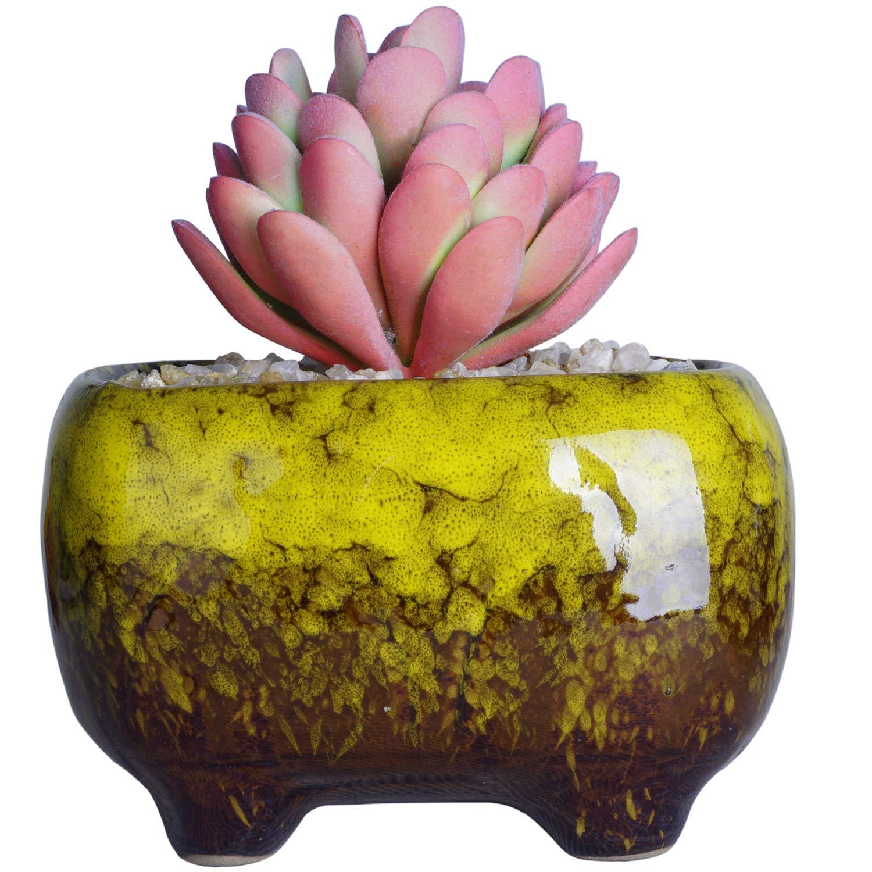 Succulent Pots | Ceramic Bonsai Pot with Drainage Rectangular Flower Plant Cactus Planter, 4.8x3.4x3 inch, Yellow