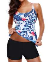 Yonique Tankini Swimsuits for Women with Shorts Two Piece Athletic Bathing Suits Floral Print Swimwear