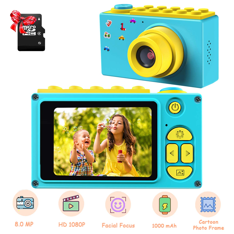 ShinePick Kids Digital Camera, Mini 2 Inch Screen Children's Camera 8MP HD Digital Camera with Micro SD Card (Blue)