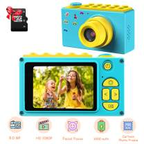 ShinePick Kids Digital Camera, Mini 2 Inch Screen Children's Camera 8MP HD Digital Camera with Micro SD Card (Blue)