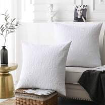 """MarCielo 2 Pack Throw Pillow Covers Euro Sham Covers (24""""X24"""", White)"""