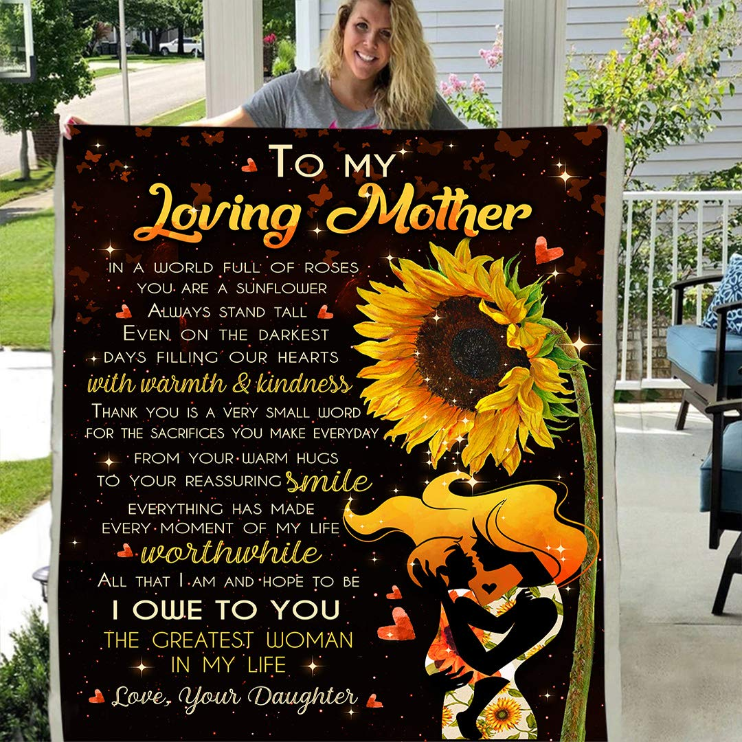 to My Love Mother from Daughter Sherpa Fleece Blanket Birthday Present Sunflower (X-Large 80 X 60 INCH)