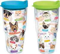 Tervis 1252662 Flat Art - Cats and Dogs Insulated Tumbler with Wrap and Assorted Lid 2 Pack - Boxed, 24oz, Clear