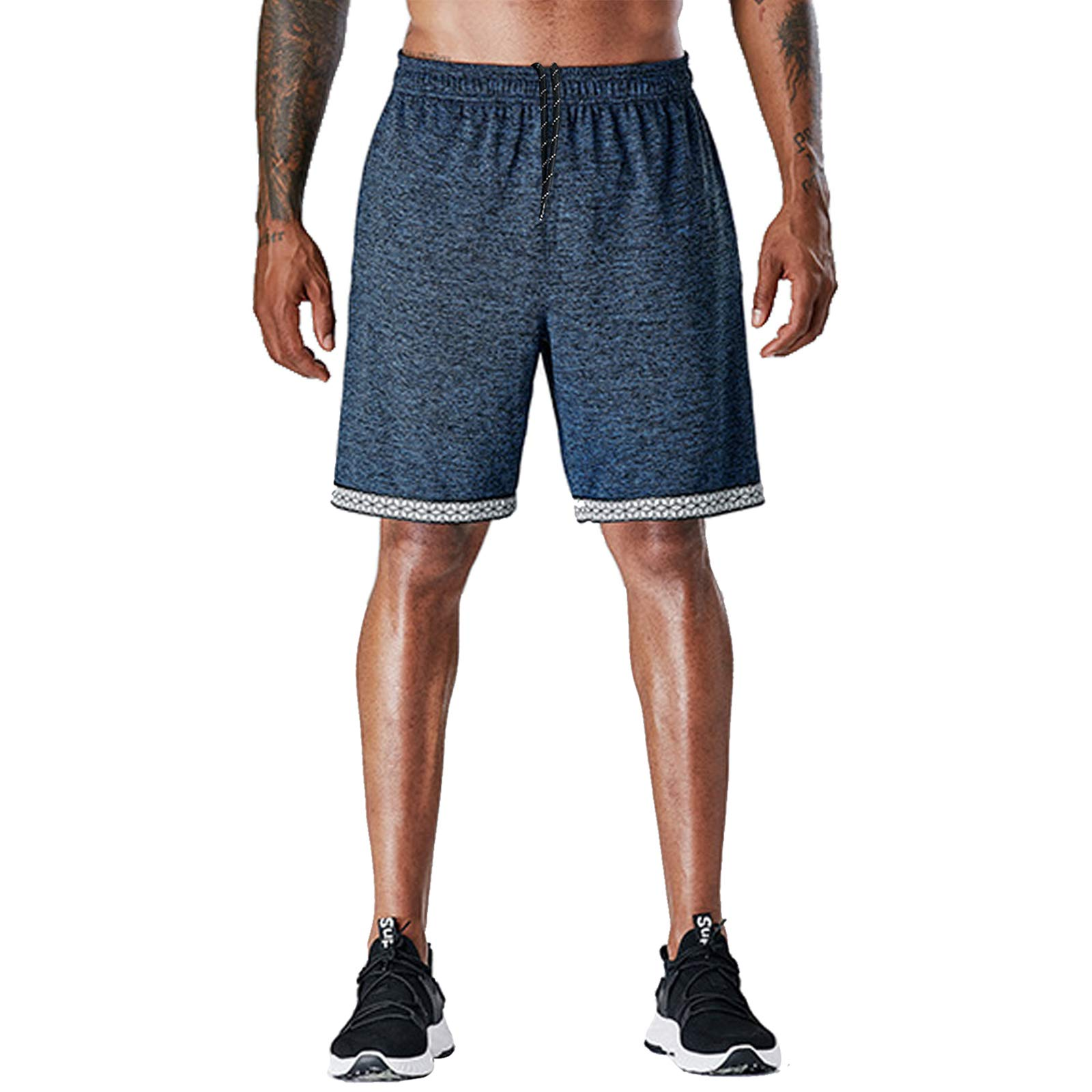 BUXKR Men's 7 Inch Athletic Running Shorts Training Workout Shorts with Pockets
