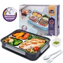 Bento Box 3 Compartments Bento Lunch Boxes Large Stainless Steel Lunch Box for Big Kids Adults Home Work and Picnic(Darkgray)