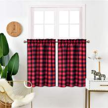 """IDEALHOUSE Red and Black Tier Curtains,Buffalo Check Plaid Gingham Short Window Curtain for Cafe,Farmhouse,Bathroom,Kitchen & Living Room Rod Pocket Curtains (2 Panels, 28""""x36"""")"""