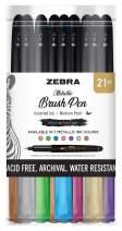 Zebra Pen Metallic Brush Pen, Medium Point, Pigment Ink, Assorted Colors, 21 Pack