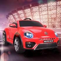 TOBBI Licensed Beetle 12V Kids Ride On Battery Powered Car RC Red