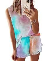Kikibell Womens Tie Dye Printed Ruffle Short Pajamas Set Sleeveless Tops and Shorts PJ Set Loungewear Nightwear Sleepwear