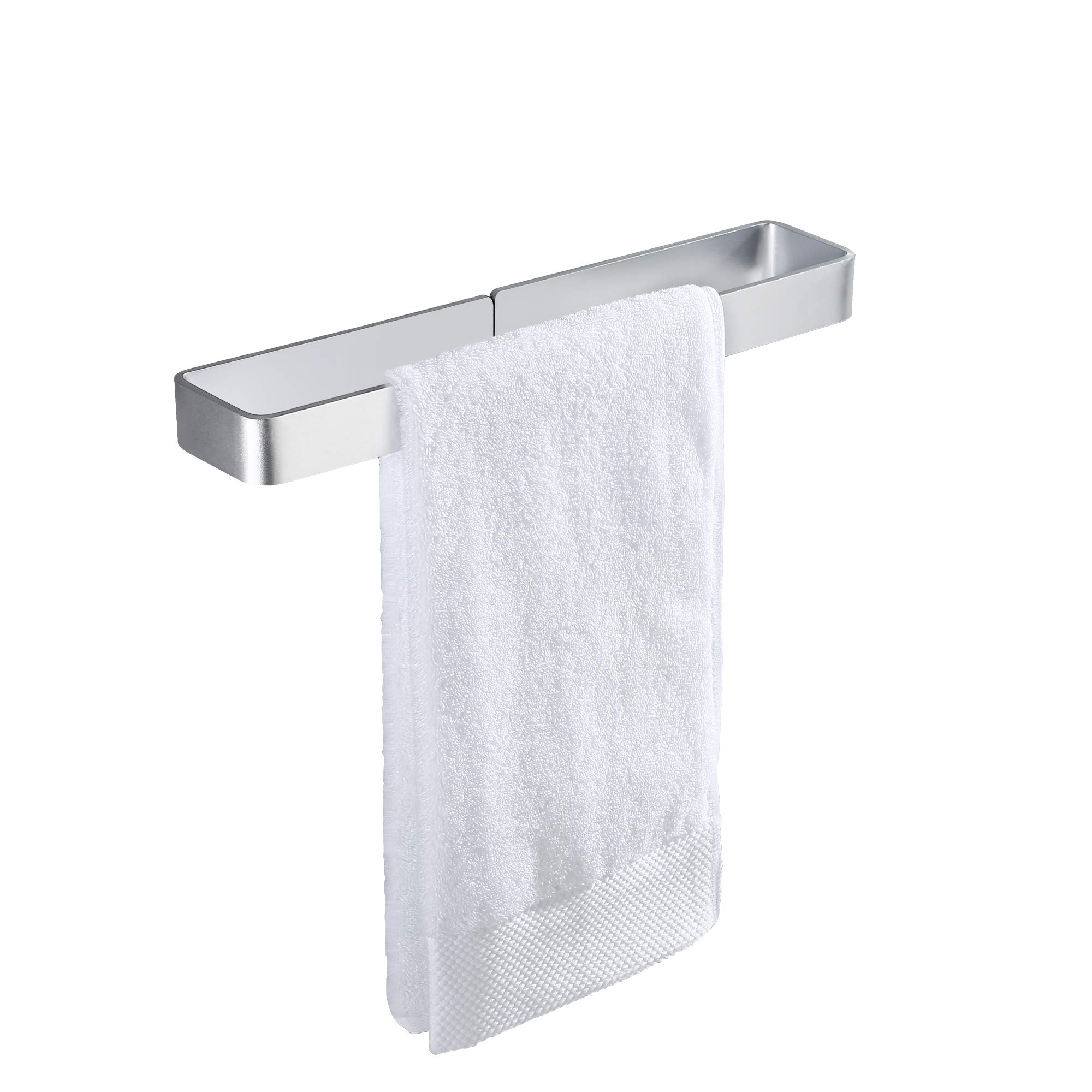 KES Self Adhesive Towel Bar for Bathroom 15.7-Inch Stick on Towel Rack No Drill Wall Mounted Aluminum Silver, BTH402S40